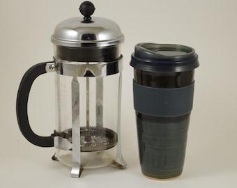 Misty Blue Travel Mug, car cup, lidded tumbler