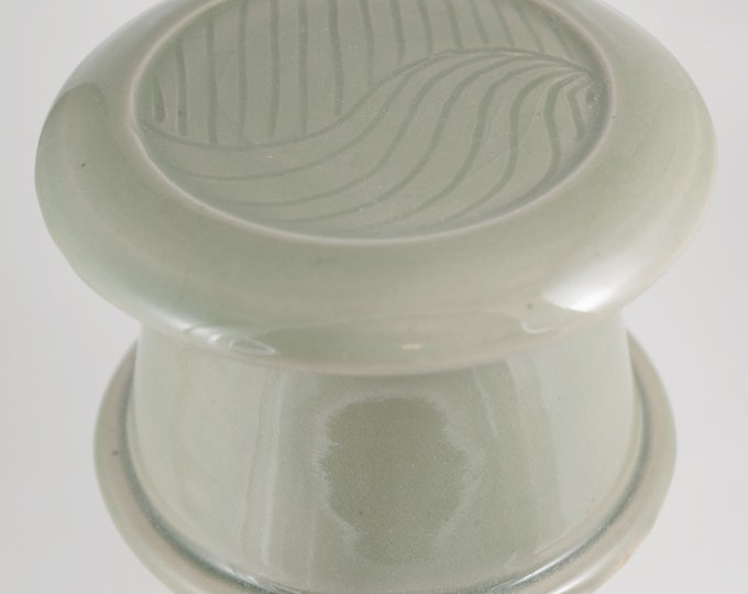 Celedon Free Form--French butter dish sometimes called a french butter keeper, french butter crock