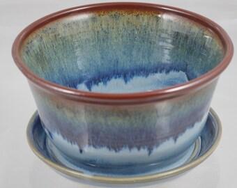 Planter small blue moon and tenmoku. Handmade highfired stoneware