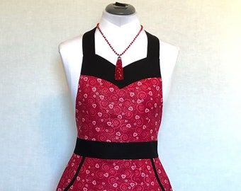 Red Hearts and Swirls - Valentine Apron for all Year - Sweetheart Neckline - Figure Flattering Red Apron