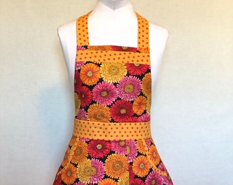 Mums the Word - Floral Apron - Figure Flattering Apron - Orange, Yellow and Pink Apron - One Size fits most apron - READY TO SHIP!