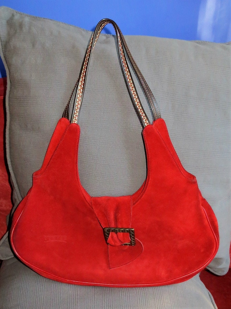 Red leather and suede teixier bag image 0