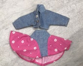 Genuine 80 39 s Barbie Stone Washed Denim Jacket Skirt Set