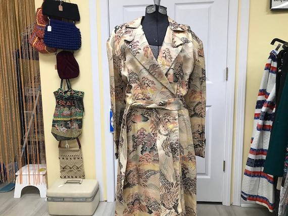 40's Silk Japanese Dressing Gown Robe Kimono - image 1
