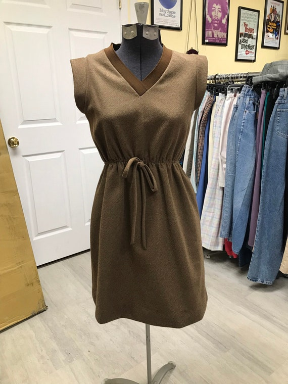 Wool Vintage Brown 60's/70's Dress