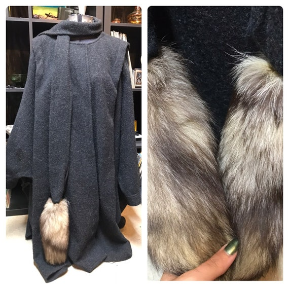 70's/80's Wool Poncho Coat With Real Fur Trim!