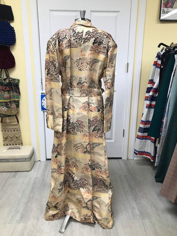40's Silk Japanese Dressing Gown Robe Kimono - image 3