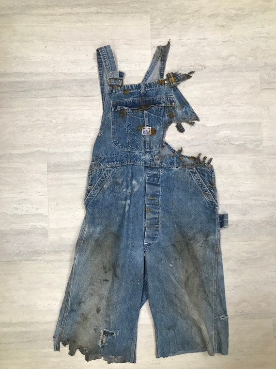 Ragged 1930's Pay Day J.C. Penny Bib Overalls (Poo