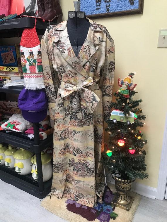 40's Silk Japanese Dressing Gown Robe Kimono - image 4