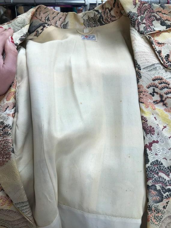 40's Silk Japanese Dressing Gown Robe Kimono - image 6