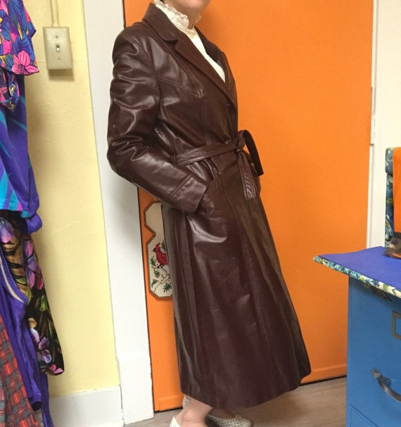70's Leather Maroon Chestnut Trench Coat