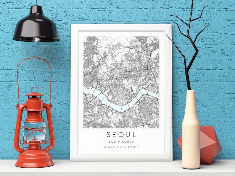 South Korea,City Map Art,DIGITAL DOWNLOAD Seoul Map Print