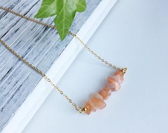 Sunstone Gemstone Necklace Healing Crystal Necklace Tiny Sunstone Crystal Necklace Dainty Necklace Minimalist Necklace