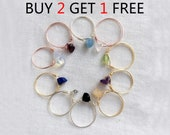 Buy 2 get 1 free Raw Gemstone Ring- Dainty Ring - Stacking Ring - Raw Crystal Ring - Birthday present -Birthstone-Sister gift-Simple ring