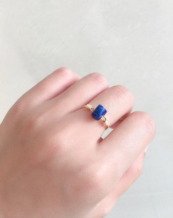 Genuine Lapis Lazuli Silver Plated Wire Wrapped Size 7 Ring