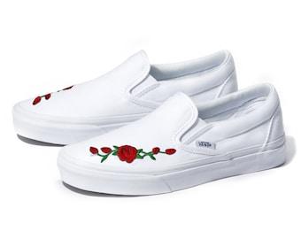 Custom Rose Vans | Etsy