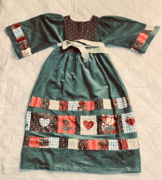 Vintage 70s Homespun Patchwork Gunne Prairie Dres… - image 3