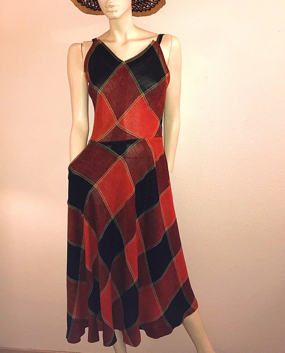 Rare 40s JOSET WALKER Halter Dress,Backless Plaid