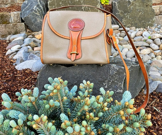 Vintage Dooney & Bourke Handbag, Equestrian Over and Under Shoulder Purse, AWL Handbag with Brass Duck and Hardware, Made in the USA
