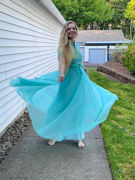 60s Irene Sargent Chiffon Maxi Dress, Flowing Drea