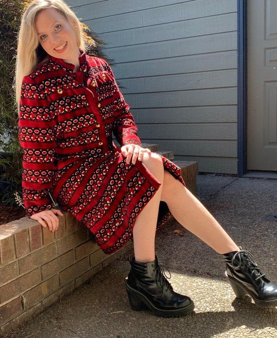 60s DAVID OW Wool Velvet Tapestry Coat Jacket Tren