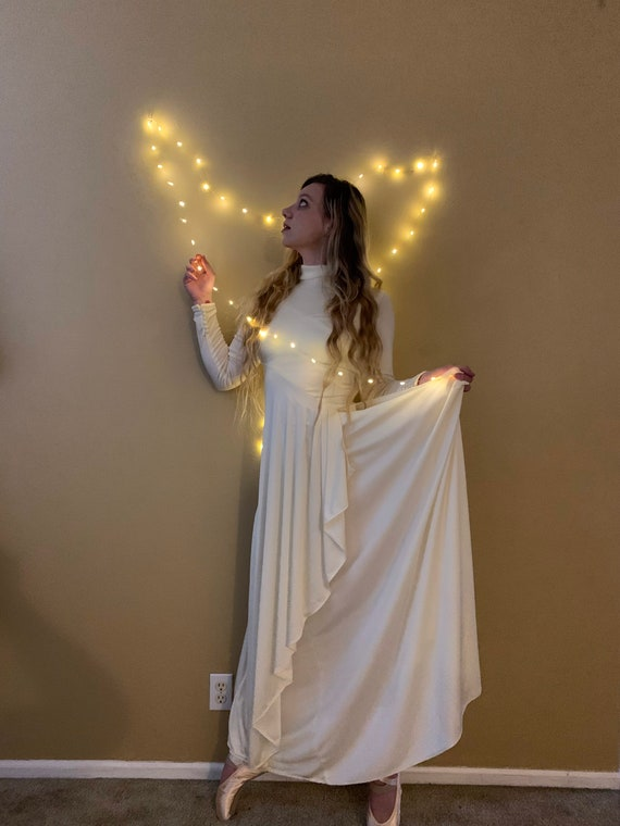 60s Long White MOD Jersey Dress, Long Sleeve All … - image 9