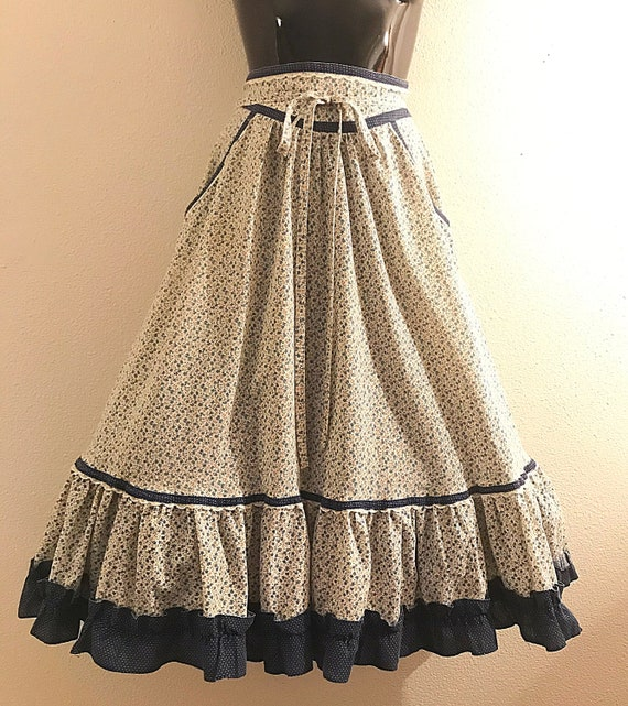 70s Gunnie Sax Blue Gingham Skirt, Midi Skirt with