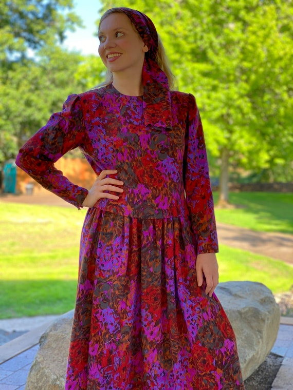 80s PAULINE TRIGERE Dress, Abstract Floral Print … - image 7