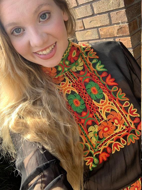 70s Boho Maxi Dress SUZANNE CUTOM ORIGINAL Patchw… - image 5