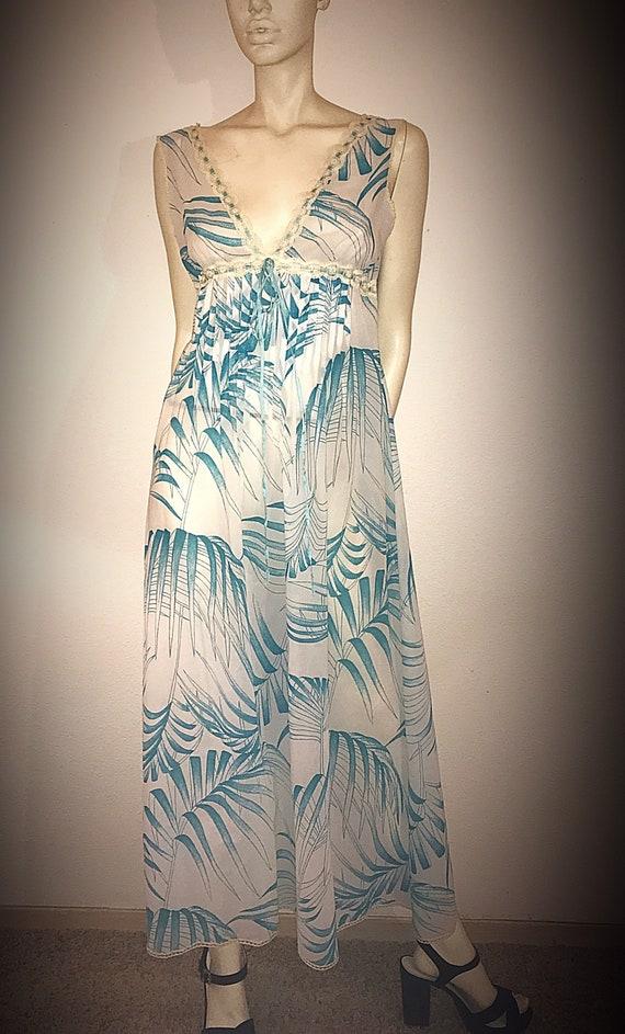 70s Boho Lingerie Slip Dress, Sheer Print Dress by