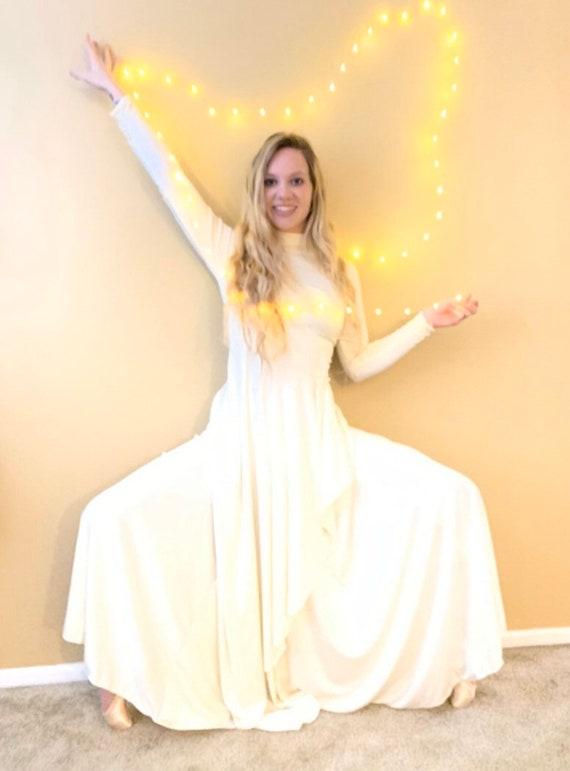 60s Long White MOD Jersey Dress, Long Sleeve All … - image 10
