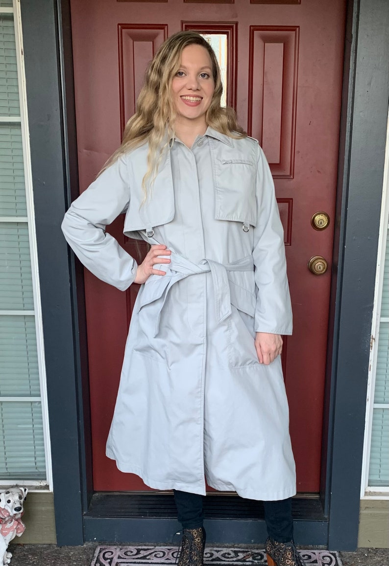 70s CHARLES SUPPON for Intre Sport Grey Spy Trench Made in Spain Size 10