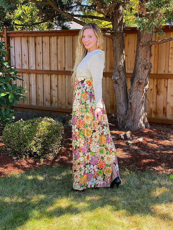 60s Gold Lurex Dress,Metallic Flower Print MOD Swe