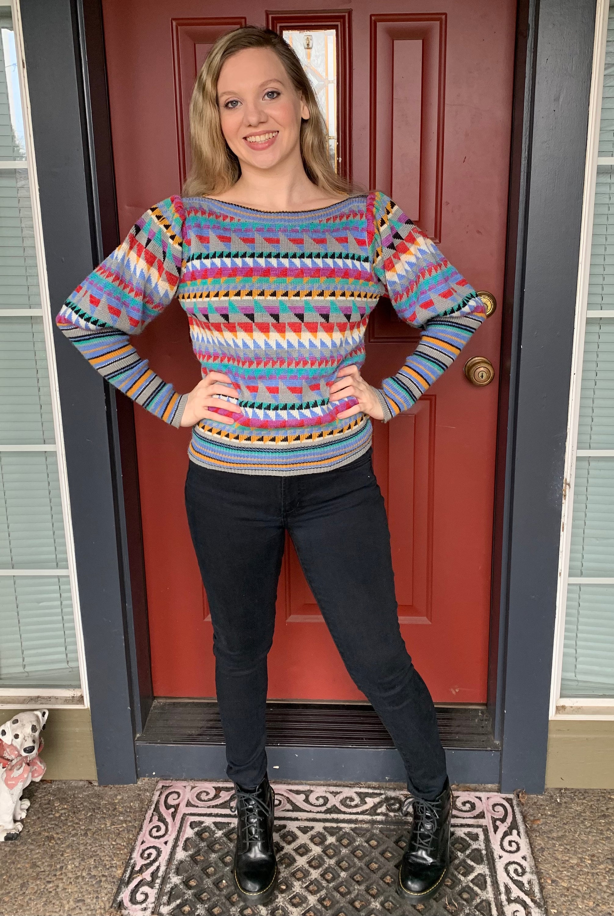 80s Sweatshirts, Sweaters, Vests | Women 80S Geo Print Colorful Sweater By Ardee With Juliet Mutton Sleeves, Bright Size M -Retro $51.80 AT vintagedancer.com