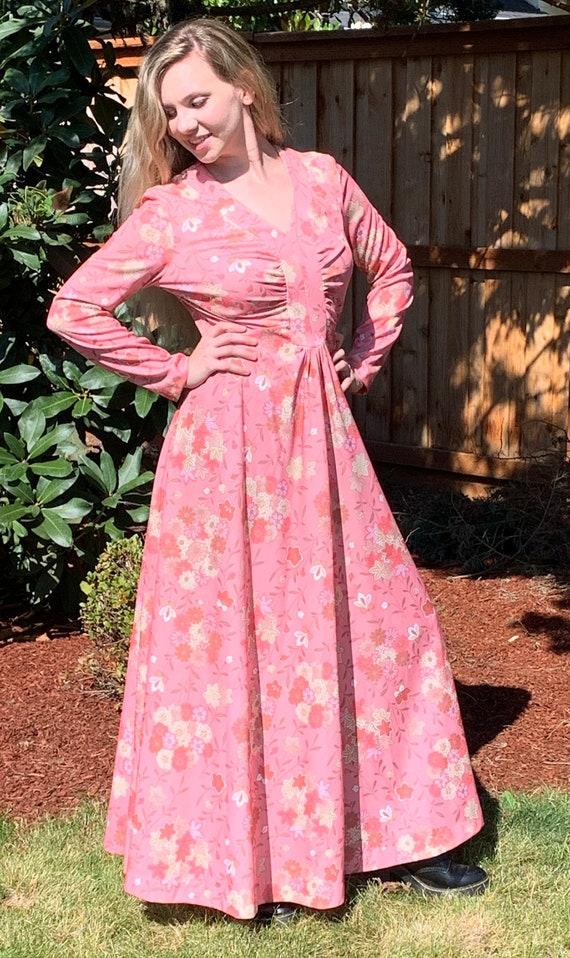 70s Pink Floral Maxi Dress, Boho Festival Dress, L