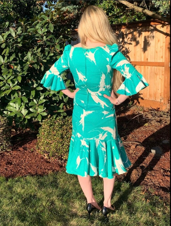 60s LUIS ESTEVEZ Silk Dress,Beautiful Print Rare … - image 4