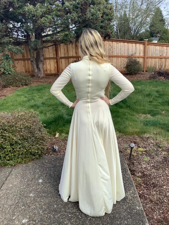 60s Long White MOD Jersey Dress, Long Sleeve All … - image 7