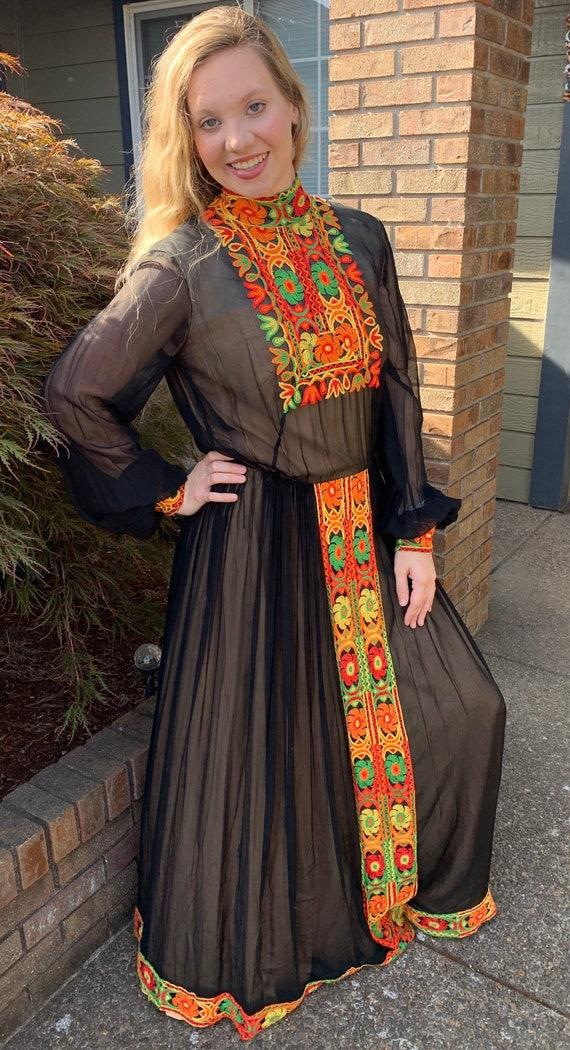 70s Boho Maxi Dress SUZANNE CUTOM ORIGINAL Patchw… - image 4