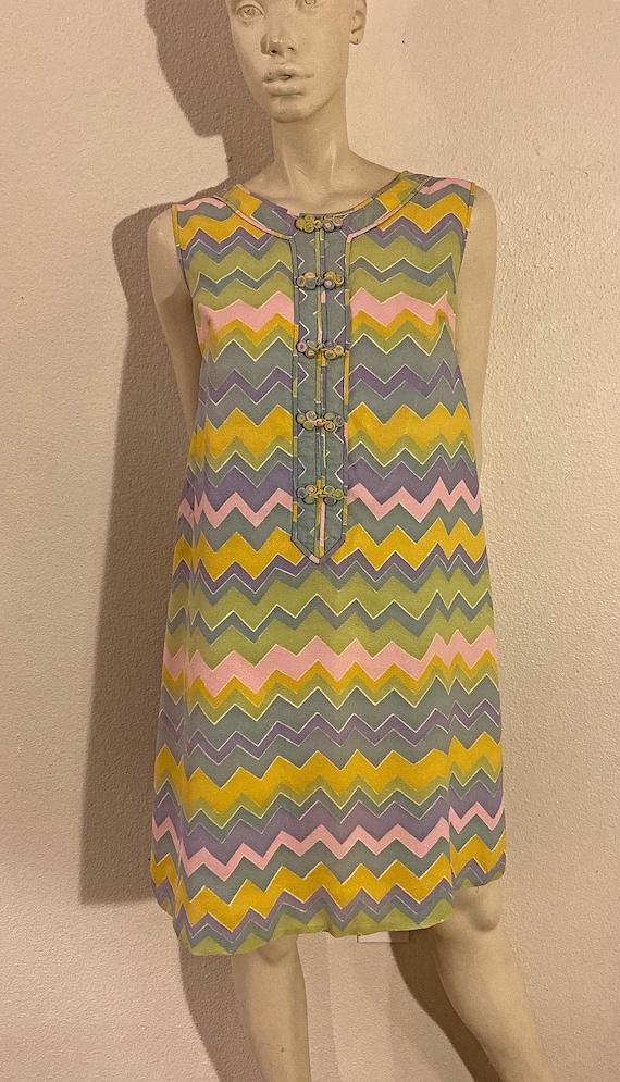 60s Zig Zag Striped Mandarin A Line Mini Dress, St