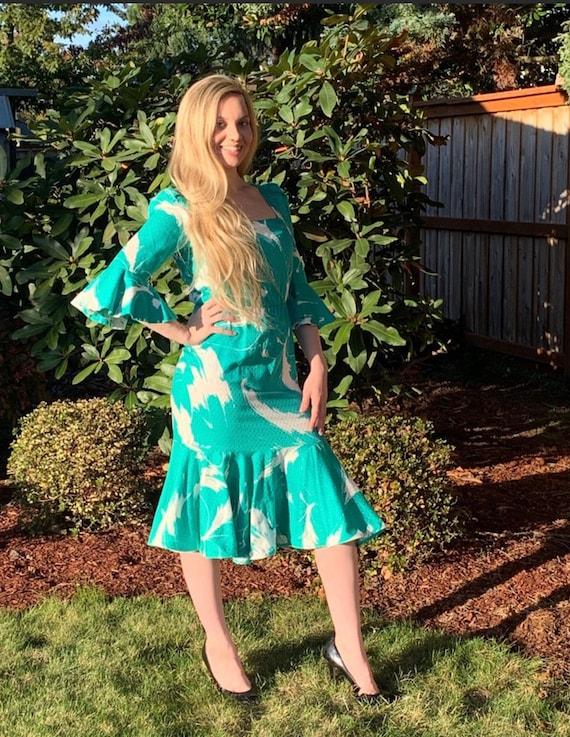 60s LUIS ESTEVEZ Silk Dress,Beautiful Print Rare … - image 5
