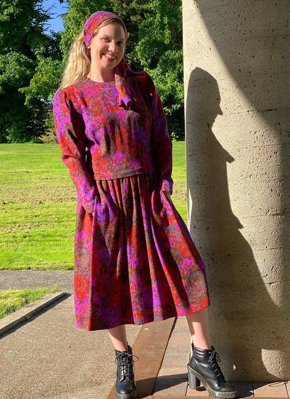 80s PAULINE TRIGERE Dress, Abstract Floral Print … - image 2