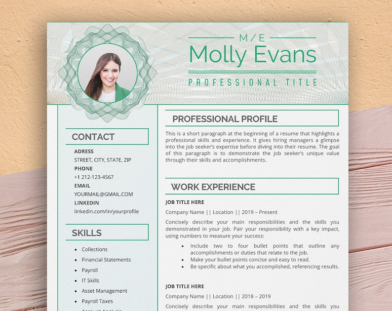 Accountant Resume Template for Word Executive Manager image 0
