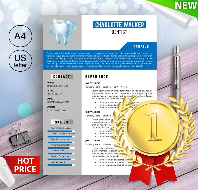 Senior Dentist Resume Template for Word Dental Assistant image 0