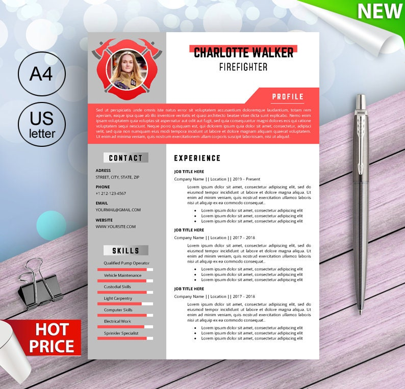 Firefighters resume template for Word Fire inspectors CV image 0