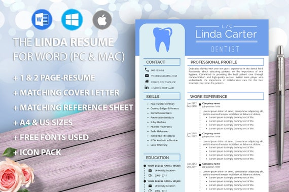 Dental Assistant Resume Template for Word, Dentist, Dental Hygienist,  Dental Lab Technician, Orthodontic, medical resume, Curriculum Vitae