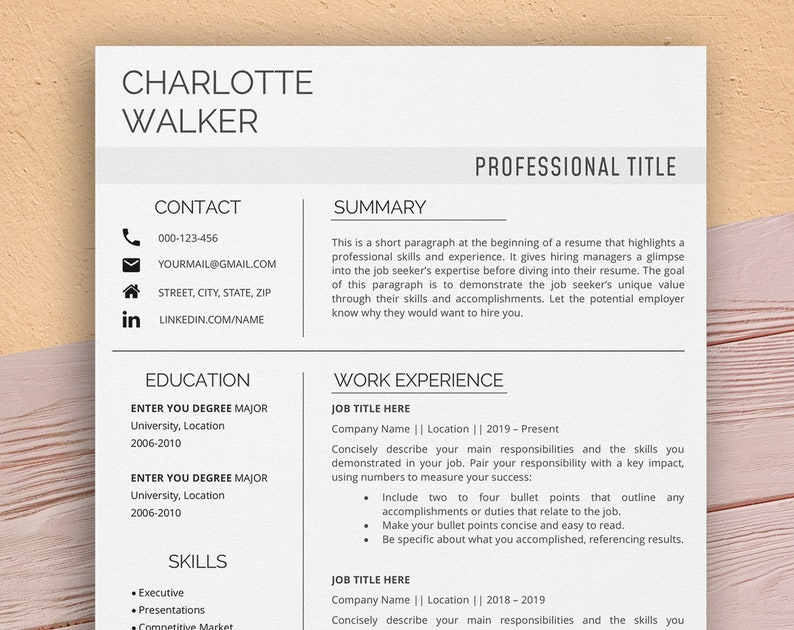 Product manager resume template for Word Professional image 0