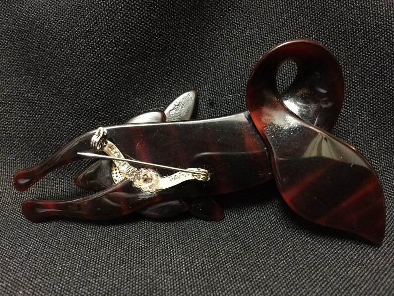 Vintage Lea Stein Paris Brown Striped Fox Pin Brooch FS