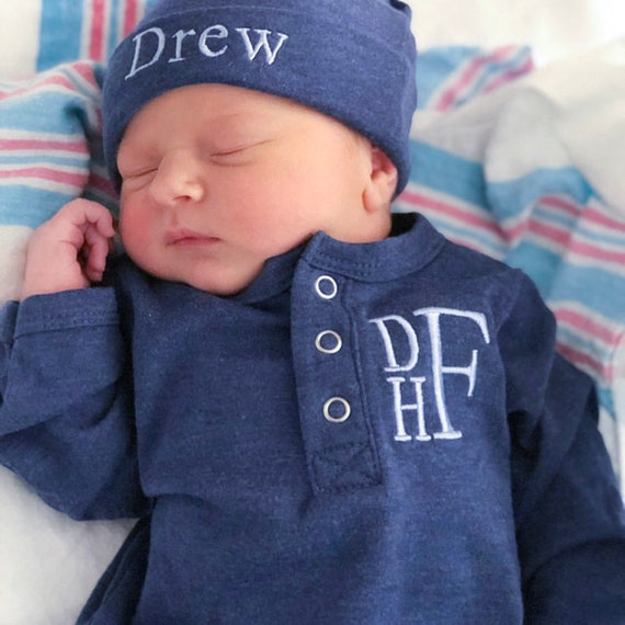 Newborn Boy Coming Home Outfit Personalized Baby Boy Outfit Newborn Hospital Outfit Embroidered Baby Clothes