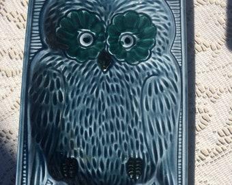 Vintage Ceramic Owl Trinket Dish, vintage trinket dish, blue decor, blue owl trinket dish, vintage owl decor, makeup brush holder