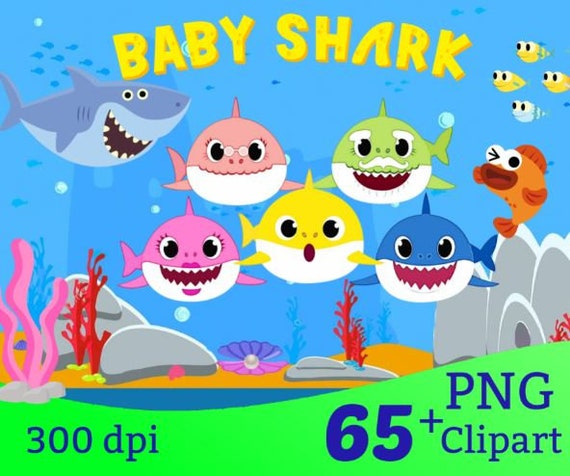 65 Baby Shark Clipart Png Instant Download 300 Dpi Transparent Background For Birthday Parties Blogs Decor Invitations Scrapbooks